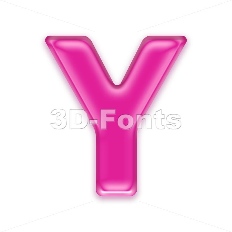Upper-case girly font Y - Capital 3d character - 3d-fonts