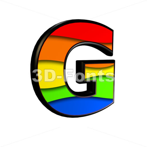 Upper-case rainbow character G - Capital 3d font - 3d-fonts
