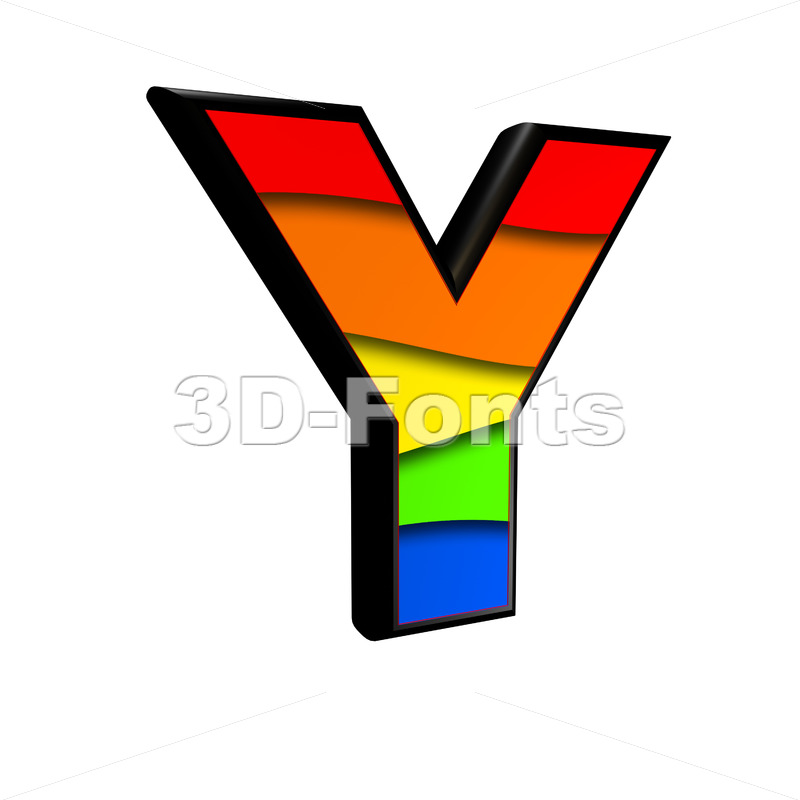 Upper-case rainbow font Y - Capital 3d character - 3d-fonts