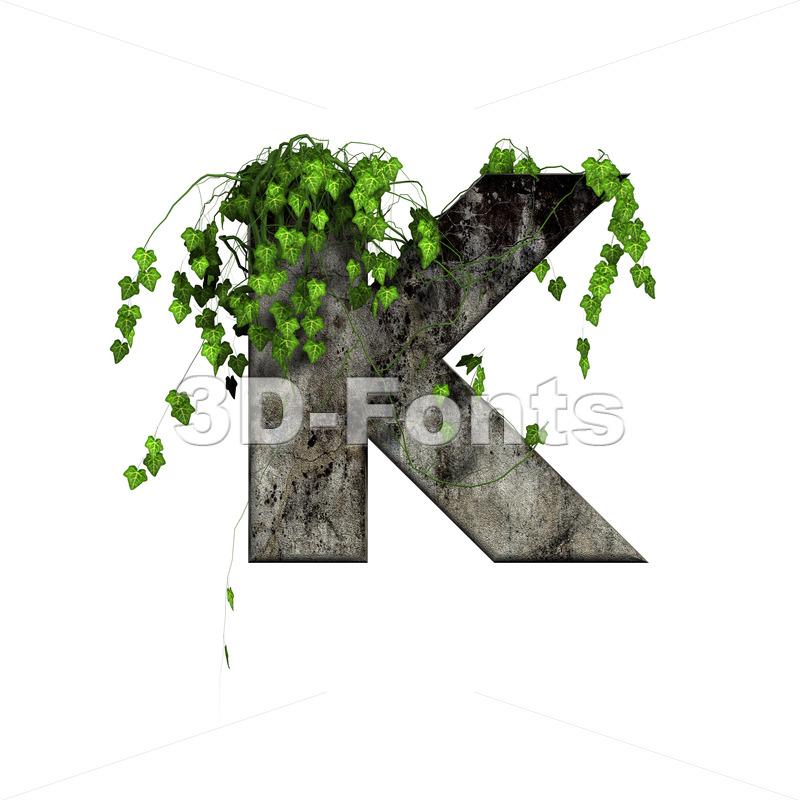 Uppercase concrete letter K - Capital 3d font - 3d-fonts