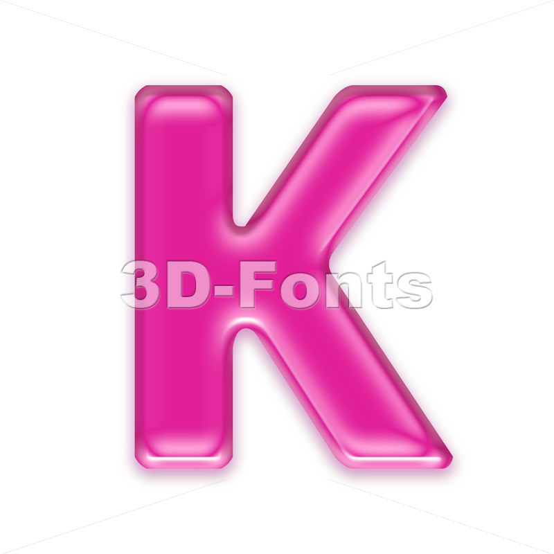 Uppercase girly letter K - Capital 3d font - 3d-fonts