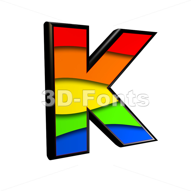 Uppercase rainbow letter K - Capital 3d font - 3d-fonts