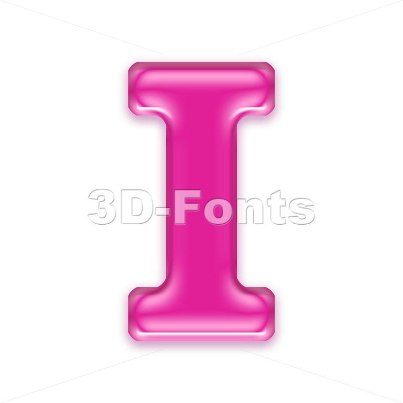 Uppercase transparent pink font I - Capital 3d letter - 3d-fonts