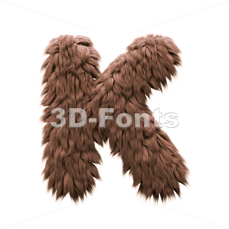 Uppercase yeti letter K - Capital 3d font - 3d-fonts