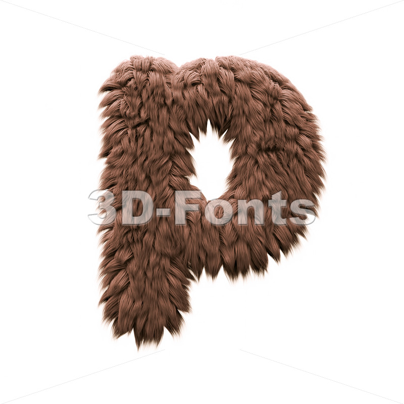 bigfoot character P - Lowercase 3d font - 3d-fonts
