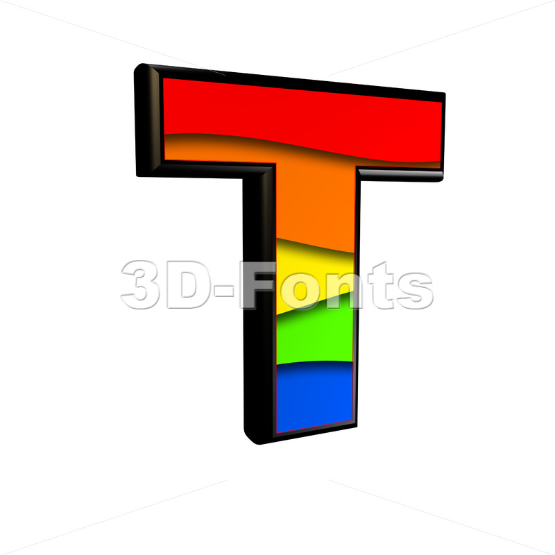 colorful character T - Uppercase 3d letter - 3d-fonts