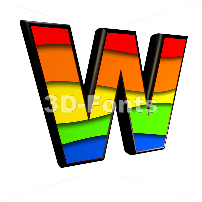 colorful font W - Capital 3d letter - 3d-fonts