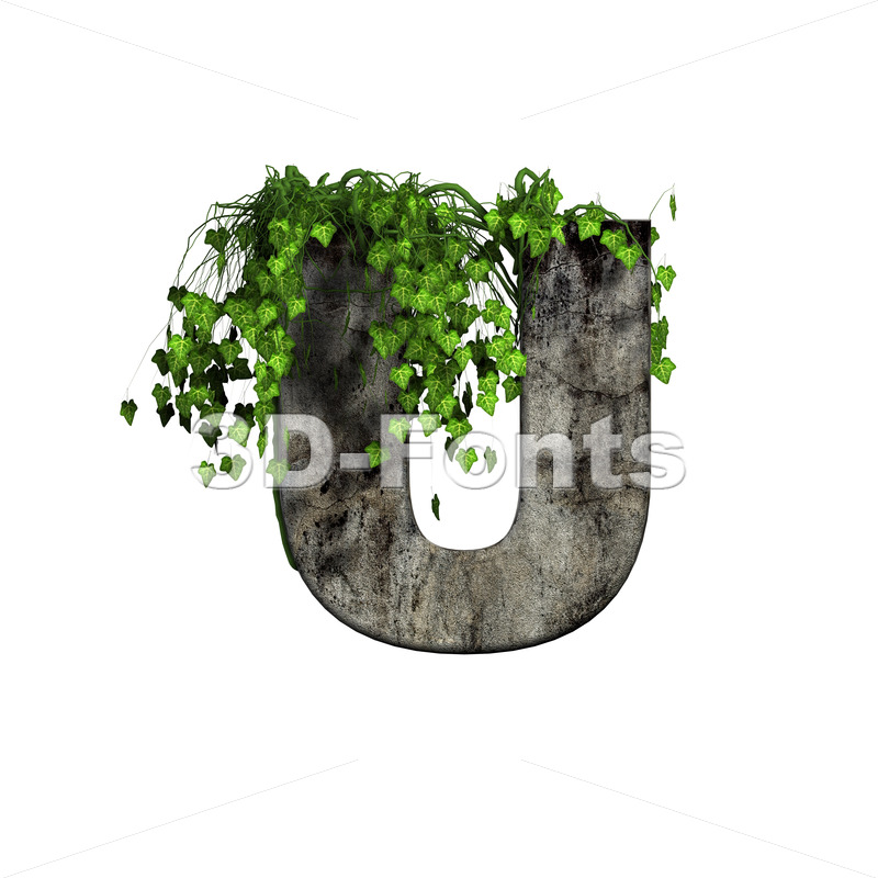concrete 3d letter U - Capital 3d font - 3d-fonts