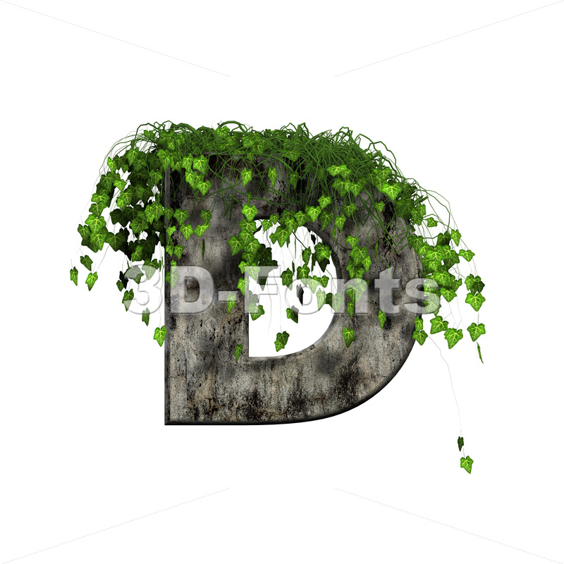 concrete font D covered with ivy - Capital 3d character - 3d-fonts
