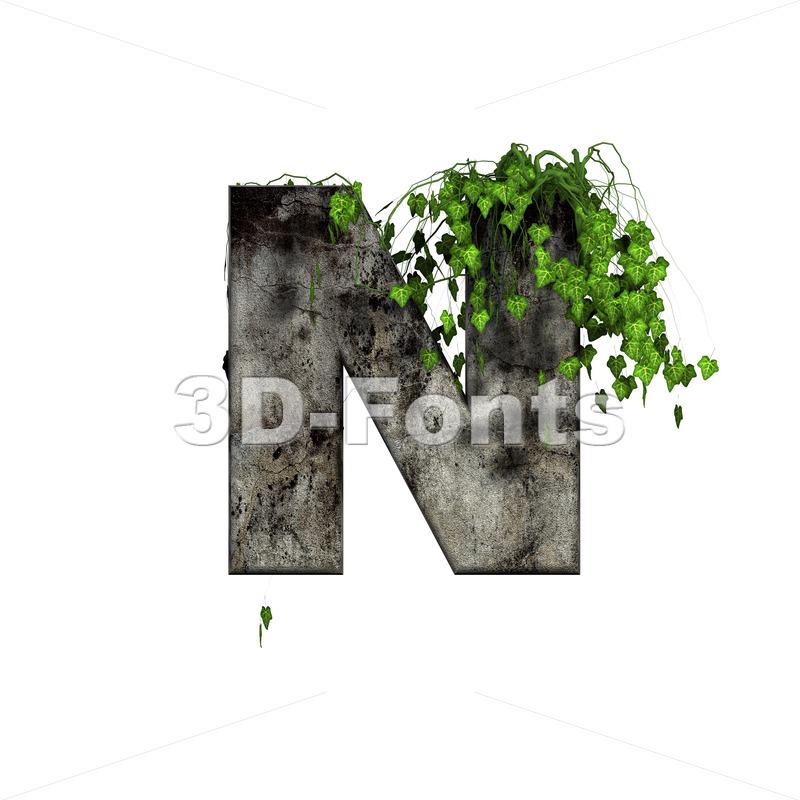 concrete font N with ivy - Capital 3d letter - 3d-fonts