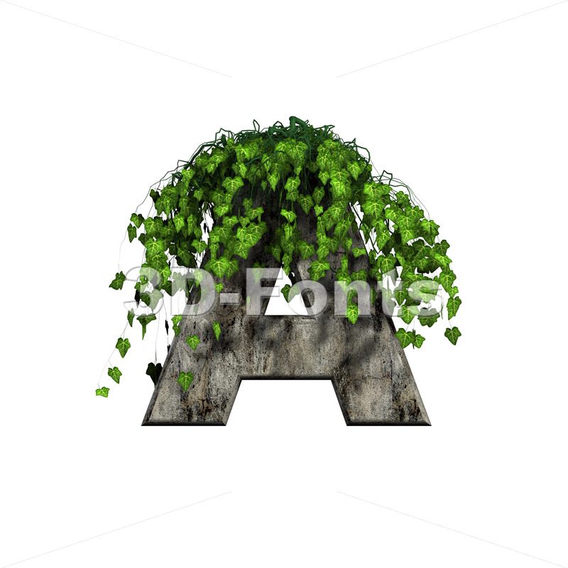 concrete letter A with ivy - Capital 3d character - 3d-fonts