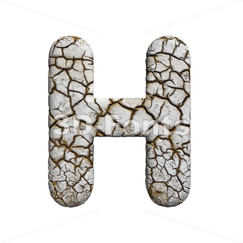 cracked 3d letter H - Upper-case 3d character - 3d-fonts