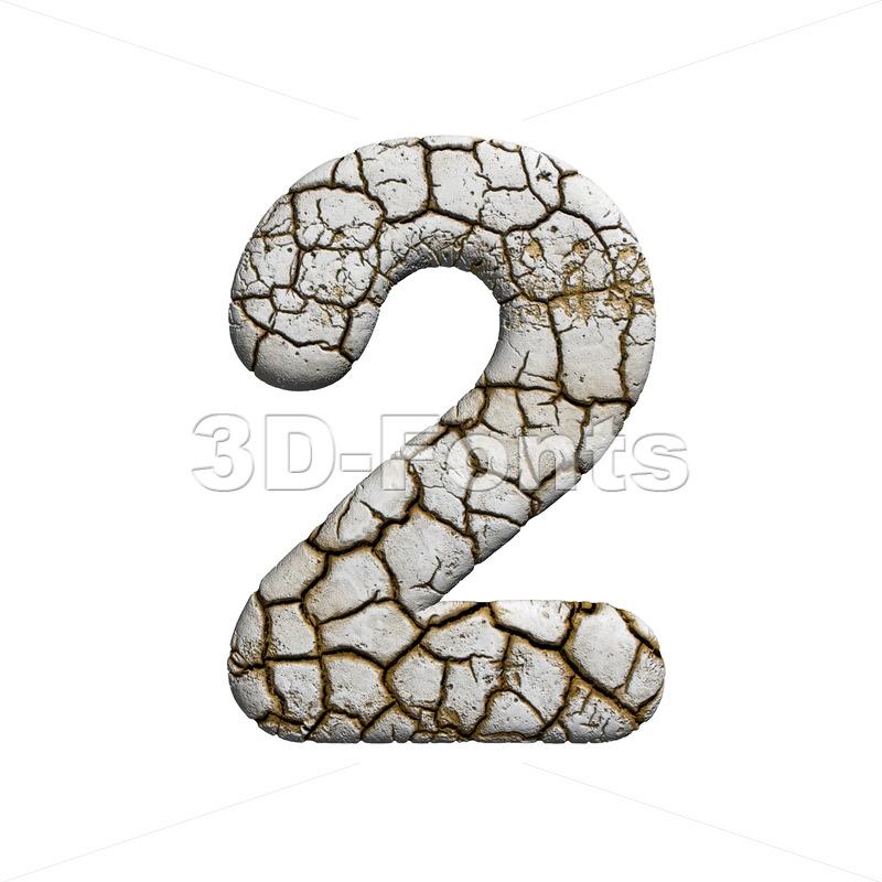cracked digit 2 - 3d number - 3d-fonts