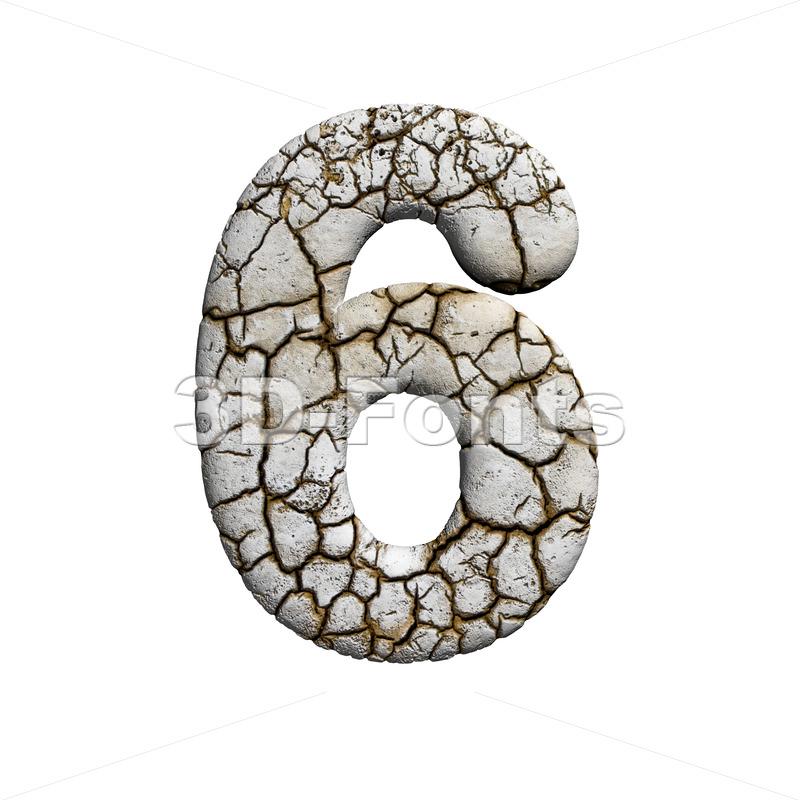 cracked digit 6 - 3d number - 3d-fonts
