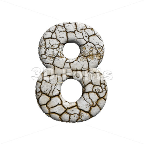cracked digit 8 - 3d number - 3d-fonts