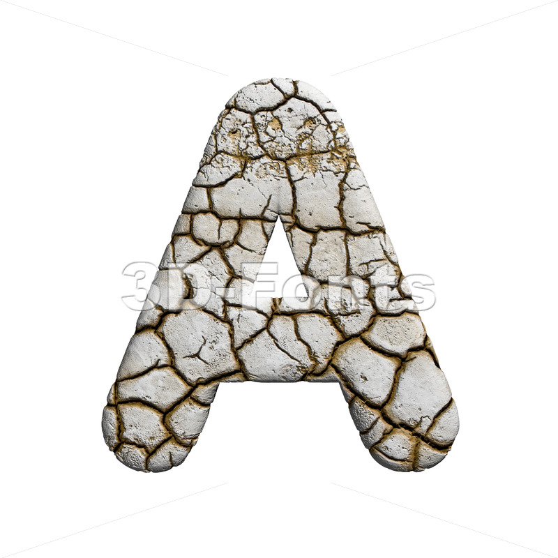 cracked letter A - Capital 3d character - 3d-fonts