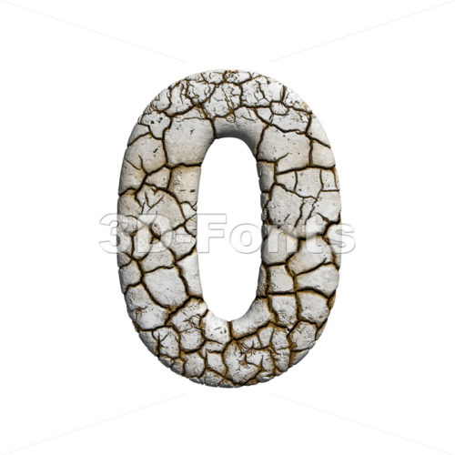 cracked number 0 - 3d digit - 3d-fonts