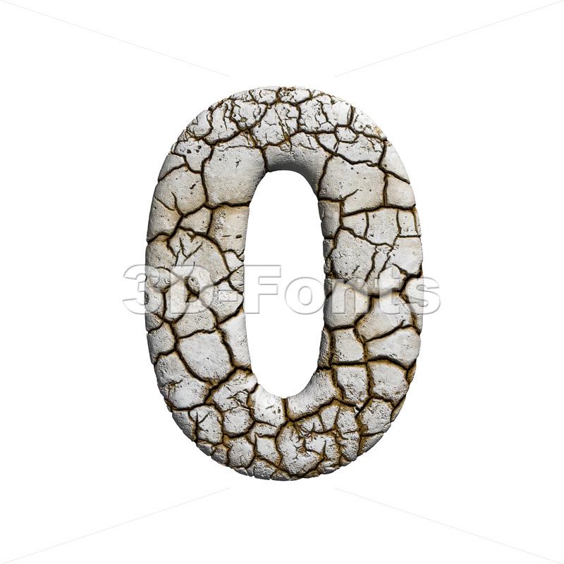 cracked number 0 - 3d digit - 3d-fonts