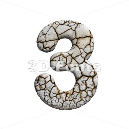 cracked number 3 - 3d digit - 3d-fonts