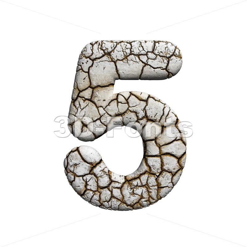 cracked number 5 - 3d digit - 3d-fonts