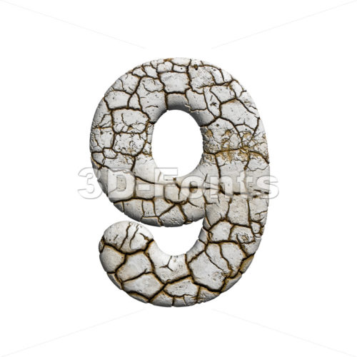 cracked number 9 - 3d digit - 3d-fonts