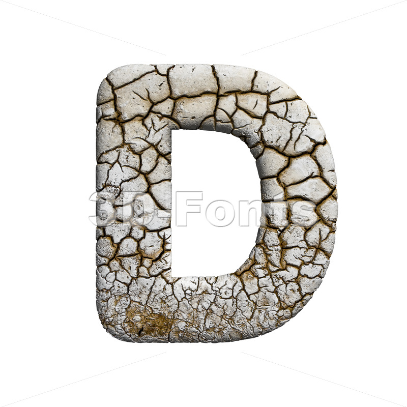 crackeled font D - Capital 3d character - 3d-fonts