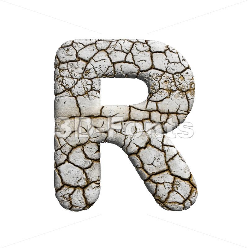 crackeled letter R - Uppercase 3d font - 3d-fonts