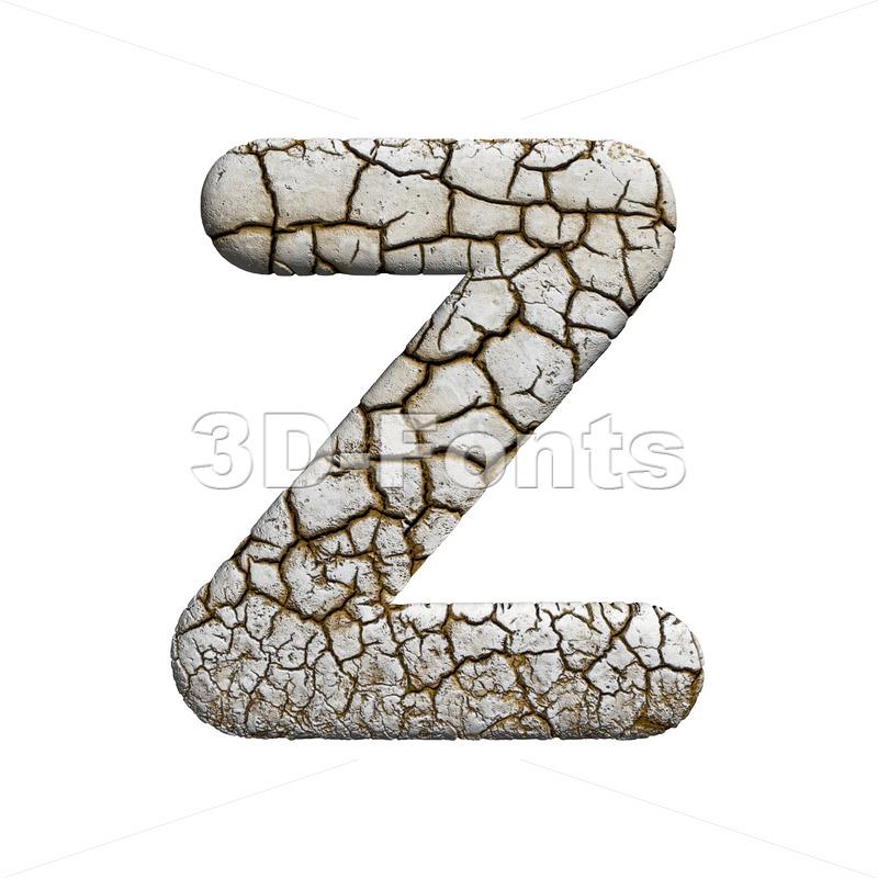 crackeled letter Z - Upper-case 3d font - 3d-fonts