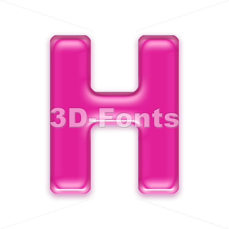girly 3d letter H - Upper-case 3d character - 3d-fonts
