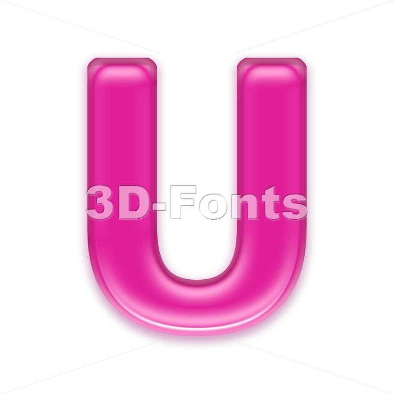 girly 3d letter U - Capital 3d font - 3d-fonts