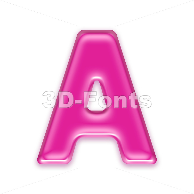 girly letter A - Capital 3d character - 3d-fonts
