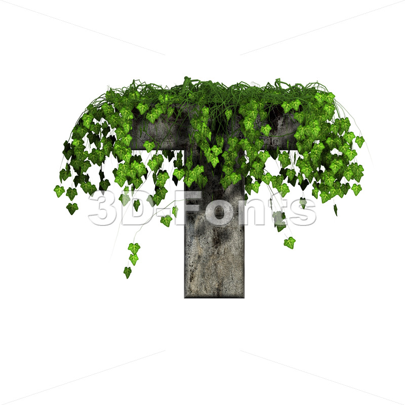 ivy covered character T - Uppercase 3d letter - 3d-fonts