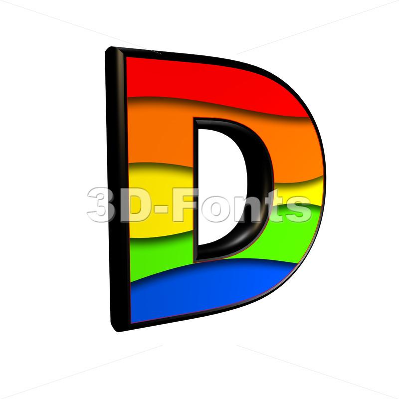 multicolored font D - Capital 3d character - 3d-fonts