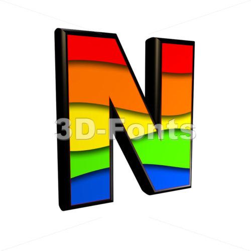 multicolored font N - Capital 3d letter - 3d-fonts
