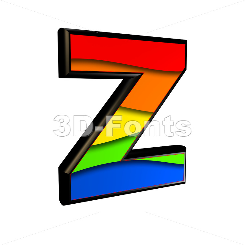multicolored letter Z - Upper-case 3d font - 3d-fonts