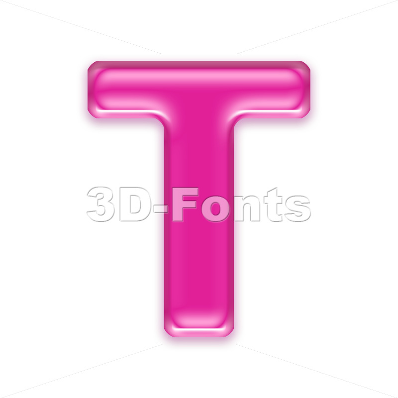 pink character T - Uppercase 3d letter - 3d-fonts