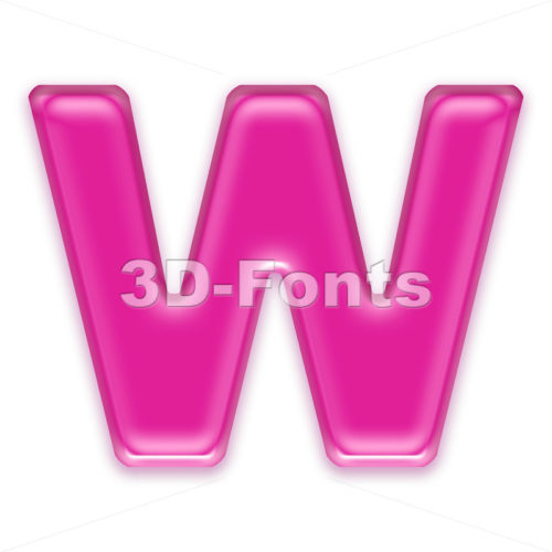 pink font W - Capital 3d letter - 3d-fonts