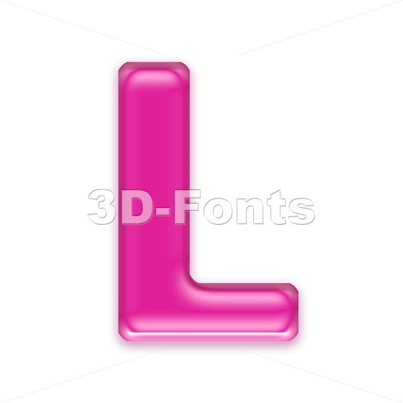 transparent pink 3d font L - Capital 3d character - 3d-fonts
