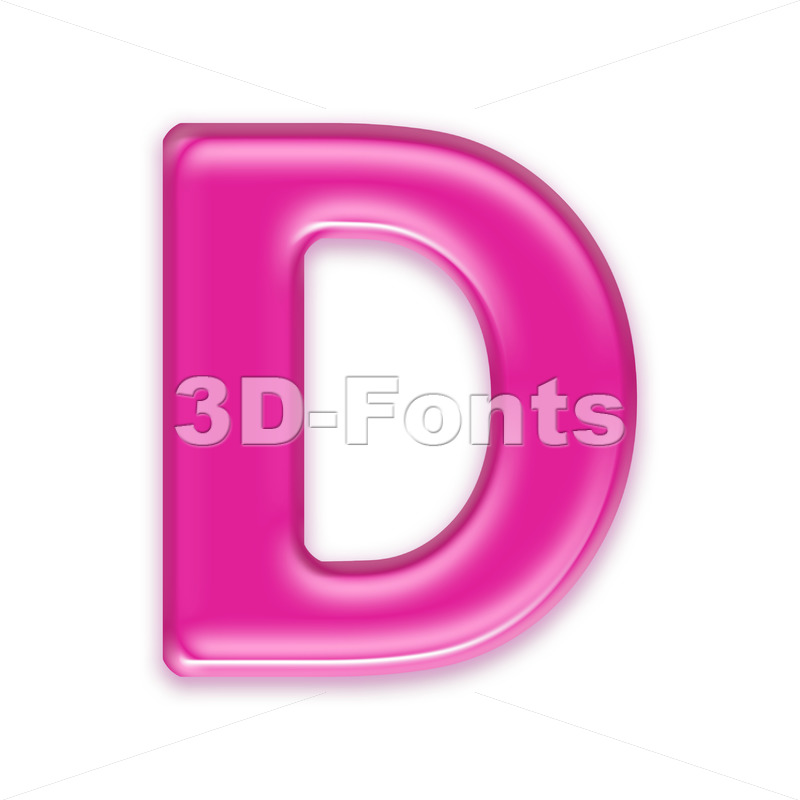 transparent pink font D - Capital 3d character - 3d-fonts
