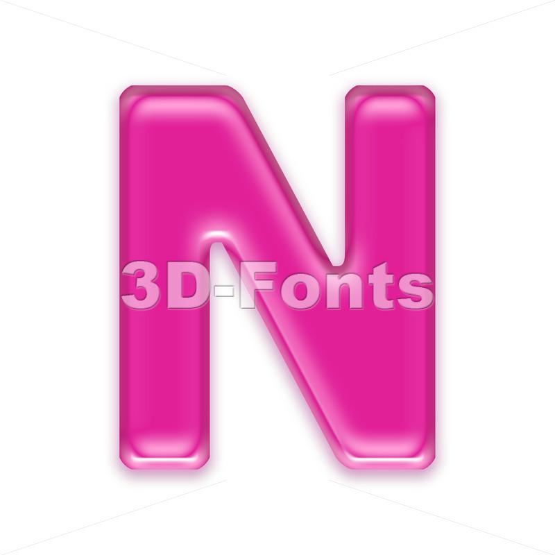 transparent pink font N - Capital 3d letter - 3d-fonts