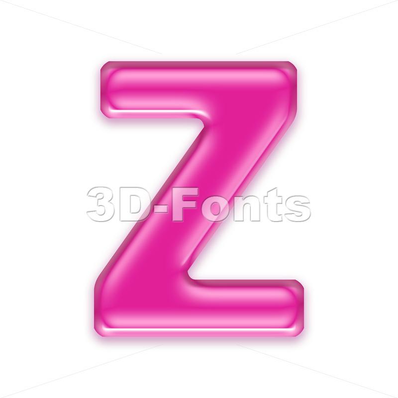 transparent pink letter Z - Upper-case 3d font - 3d-fonts