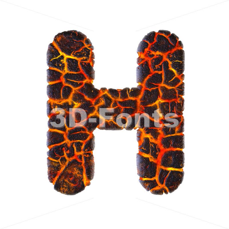 volcano 3d letter H - Upper-case 3d character - 3d-fonts