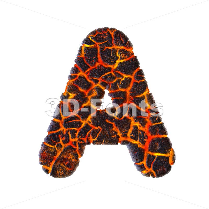 volcano letter A - Capital 3d character - 3d-fonts