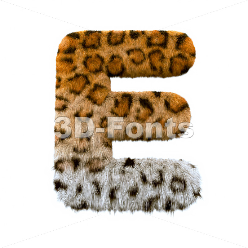 3d Capital character E covered in leopard texture - 3d-fonts