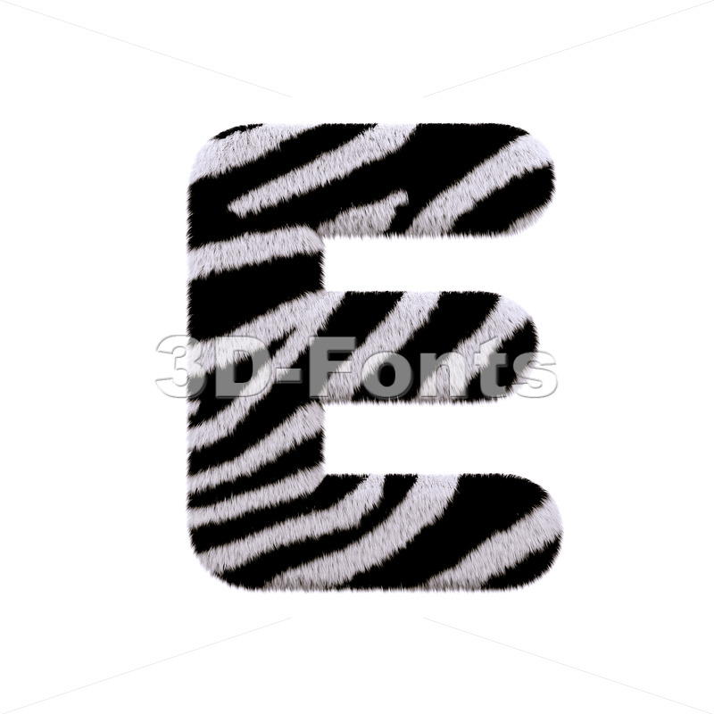 3d Capital character E covered in zebra texture - 3d-fonts