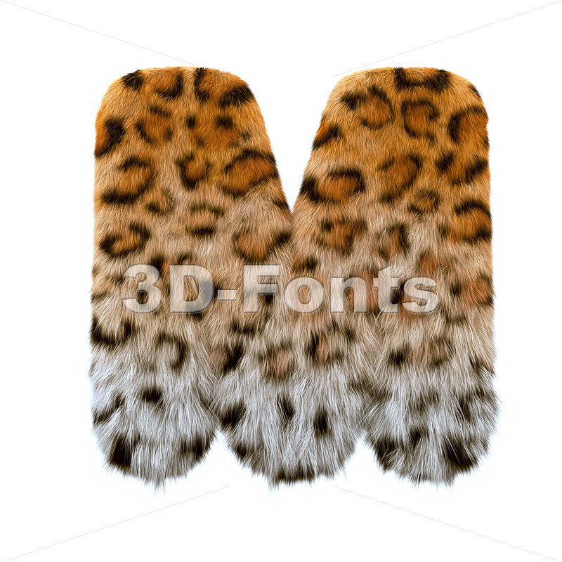3d Capital character M covered in leopard texture - 3d-fonts