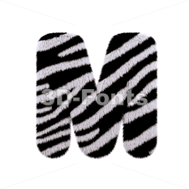 3d Capital character M covered in zebra texture - 3d-fonts