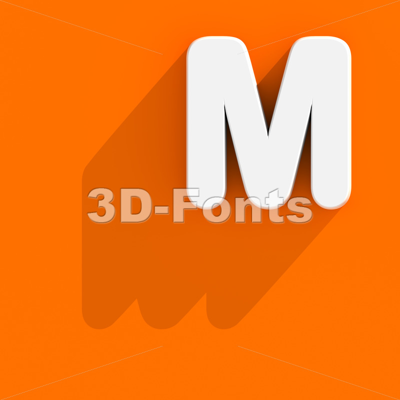 3d Capital character M with web design style - Upper-case 3d letter - 3d-fonts