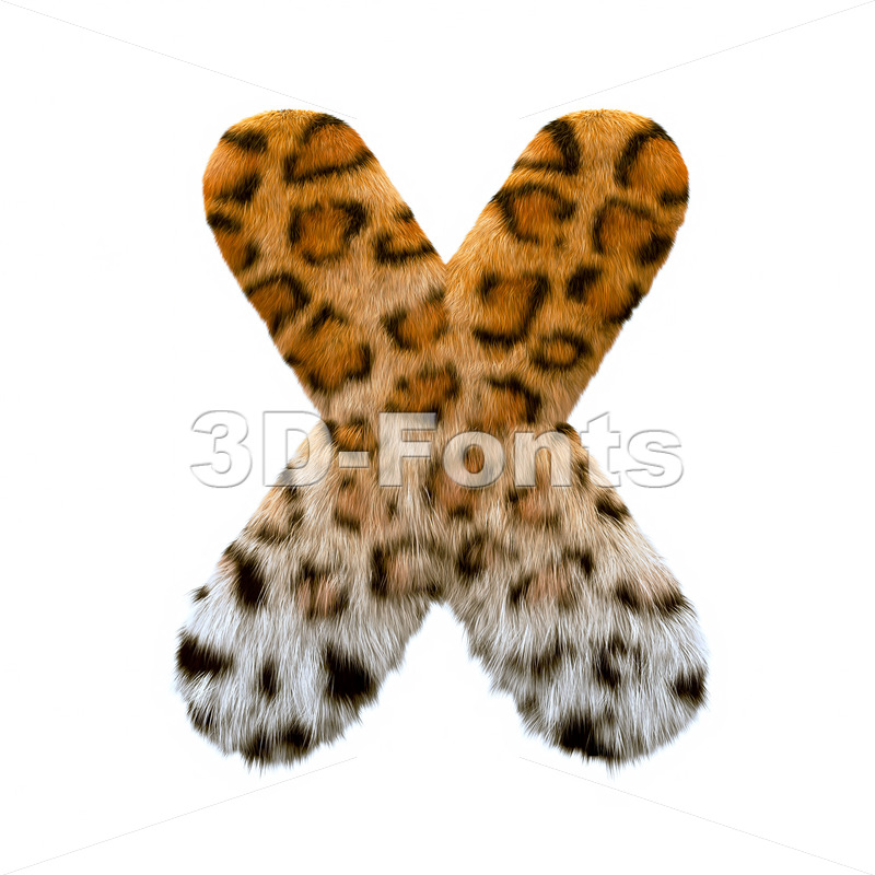 3d Upper-case character X covered in leopard texture - 3d-fonts