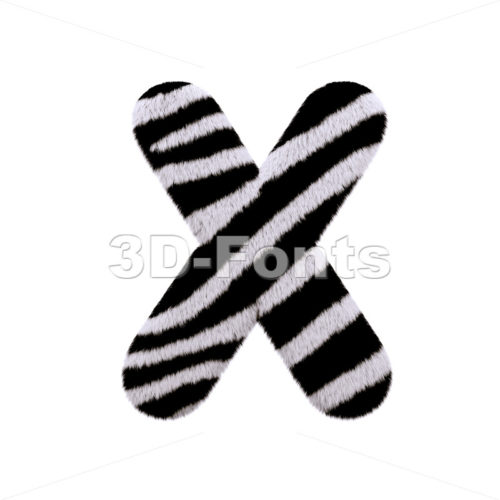 3d Upper-case character X covered in zebra texture - 3d-fonts